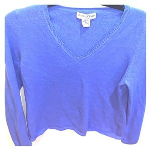 Andre Oliver blue pure cashmere v neck sweater XL